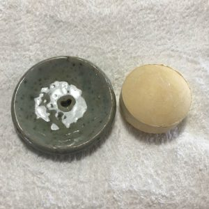 Shampoo Bar Dish with shampoo bar (for illustrative purposes)