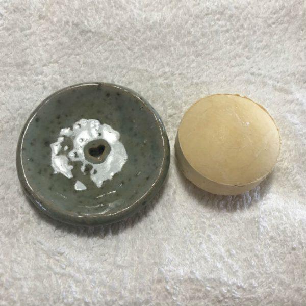 Shampoo Bar Dish with shampoo bar (for illustrative purposes)